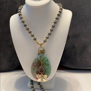 Jewelry - Teardrop Dragons Vein Agate Stone Necklace